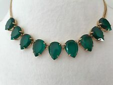 NWT J.Crew Spicy Jade Teardrop Gemstone Statement Necklace & Dust bag