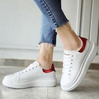 Womens Girls Flats Platform Low Top White Sneakers Casual Lace Up Trainers F289