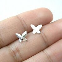 Cute 925 Sterling Silver Butterfly Insect Oxidized Helix Tragus Ear Stud Earring