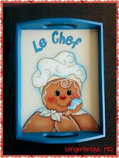 HP Gingerbread Chef  wooden serving tray,Christmas Decor, Holidays, Kitchen