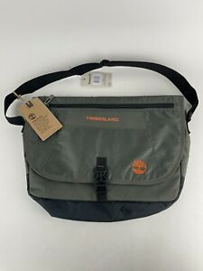 "Timberland Twin Mountain 16"" Messenger Bag Olive Green Orange Strap & Handle NEW"