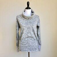 Athleta Heathered Cowl Neck Sweater Size XS Thumb Holes Gray