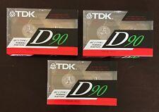 3 VINTAGE TDK D90  CASSETTE TAPES  SEALED