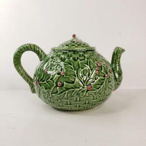 Bordallo Pinheiro Art Pottery Christmas Holly Berry Teapot and Lid Made Portugal