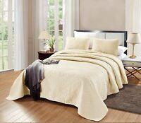 OverSize KING Savannah Quilt Solid Light Ivory Bedspread Microfiber Coverlet