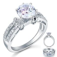 2Carat Created Diamond Solid 925 Sterling Silver Wedding Promise Engagement Ring