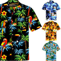 Chemise Hawaïenne Homme / 100% Coton / Taille S – 8XL / Perroquets / Hawaii