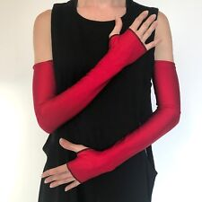Long Gloves Red Harley Quinn Costume Arm Warmers Cover Shiny Elbow Length Sleeve