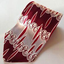 Vtg 1940s Superba Swing Tie Cravat Abstract Maroon Rockabilly