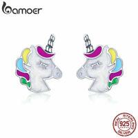 BAMOER .925 Sterling Silver Stud Earrings Enamel horse memory For Women Jewelry