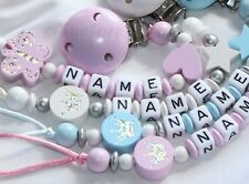 "Personalised Dummy Chain Clip Holder Strap "" Butterfly & Crown"" Pacifier Clip"