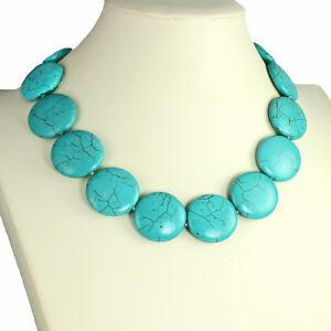 Semi precious genuine turquoise circular round shape stone choker necklace