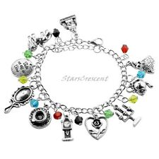 Beauty and the Beast CHARM BRACELET Rose Mirror Beads Belle Bangle Charms NEW