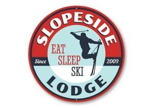 Eat Sleep Ski Ski Lodge Decorative Sign, Novelty Sign, Skier Gift Metal Sign