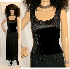 70'S-80'S BLACK BODY CON VELVET BEADED PALAZZO GOTH DISCO SEMI SHEER JUMPSUIT SM