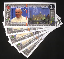 WHOLESALE LOT 5x 1 EURO 2016 POPE FRANCIS VATICAN POLYMER FANTASY ART NOTES!