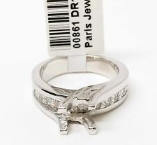 14K White Gold Semi Mount Channel Set Diamond Engagement Ring, Dia 0.93 CT