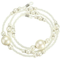 White Pearl Beaded Eyeglass Spectacle Glasses Chain Neck Holder Cord Lanyard Hot