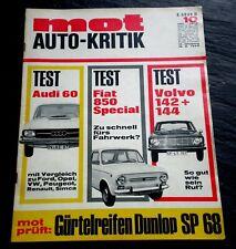 MOT 10/68 Test Fiat 850 Special,Audi 60,Volvo 142/44,Vespa Ciao,Siata 850 Spring