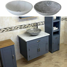 Bathroom Wall Hung Vanity Unit | Grey Painted White Marble Top | Stone Basin