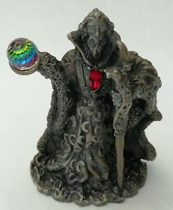 WAPW Pewter Moon Wizard Holding Crystal Figurine By A. G. Slocombe