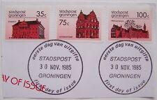 Stadspost Groningen 1985 - Stad- en Provinciehuis + Goudkantoor op papier 1e dag