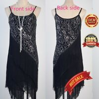 AU 20's Flapper Carneval Party Club Great Gatsby Sequin Tassel Black Gold Dress