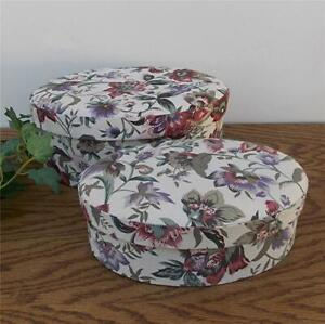 SET OF 2 VINTAGE 1980's HAND-MADE PADDED TOP FLORAL FABRIC COVERED STORAGE BOXES
