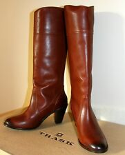 $398 Womens  H.S. Trask Abbey Brown Full Grain Leather Tall Boot Size 10  NEW