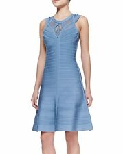 Herve Leger Viviane Blue A-line Woven Bandage Dress crochet neck cut sz XS-S new