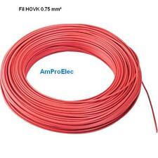 Fil électrique souple HO5-VK 0,75 mm² 10 et  20 mètres 11 Couleurs différentes