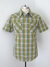 VGC Hollister Western Styling Green Plaid 100% Cotton SS Shirt Pearl Snaps S