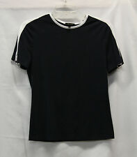 Escada Womens Short Sleeve Shirt Sz 36 Navy Blue White Excellent Used Condition