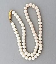 "Vintage Angel Skin Coral Necklace 16.75""  6mm Round"