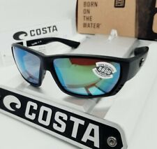 """580G - COSTA DEL MAR blackout/green mirror """"TUNA ALLEY"""" POLARIZED sunglasses NEW"""
