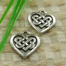 Free Ship 45 pieces tibetan silver heart charms 18x18mm #4579