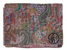King Size Handmade Cotton Kantha Stonewashed Quilt Bohemian Bedding Bedspread