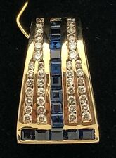 14k Yellow Gold Slider Pendant with Natural White Diamonds & Baguette Sapphire