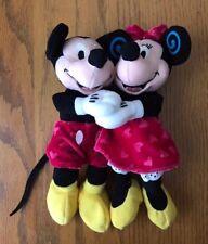 Disney Store Valentine Heart Hugging Holding Mickey Minnie Mouse Bean Bag Plush