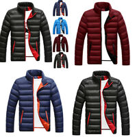 Men light Winter Collar Casual Jacket Outerwear Coat Stand Warm Overcoat