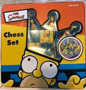 The Simpsons Collectors Chess Set Tin Box 3-D 1998 Complete Cardinal Vintage