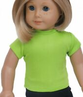Lime Green T-Shirt fits American Girl Dolls 18 inch Doll Clothes Short Sleeve