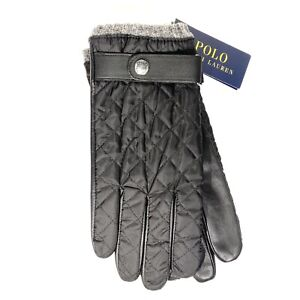 POLO RALPH LAUREN Mens Quilted Leather Gloves Black L (MSRP $68)