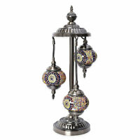 Handcrafted Circle Pattern Mosaic Turkish Style Table Lamp with Bronze Base