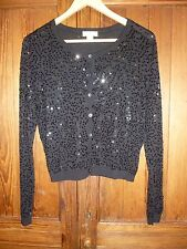 Monsoon, size 14: sparkly black and sequin-covered cardigan