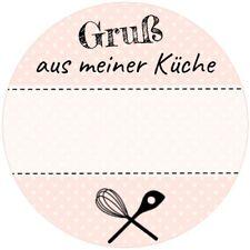 Aufkleber rund 40 mm / Gruß aus meiner Küche / Etiketten / selbst gemacht / DIY
