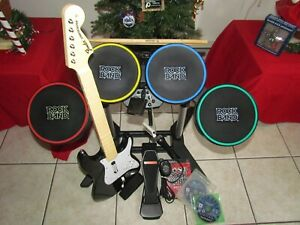 PLAYSTATION 3 WIRED DRUMS WIRELESS GUITAR FENDER ROCK BAND BUNDLE 3 GAMES pads