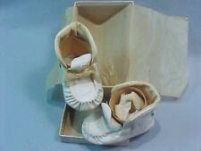 Vintage Sz. 1 BABY MOCCASINS for Doll ~ Wht. Leather ~ DUNN Shoe Co. ~ Orig. Box