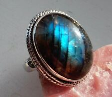 Oval Shape Cabochon Labradorite REAL 925 Sterling Silver Rope Design Ring - 8.1g