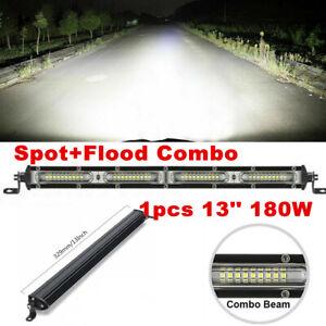 "Single Row 13"" 180W Straight LED Light Bar Spot+Flood Combo BOAT Off Road Lamp"